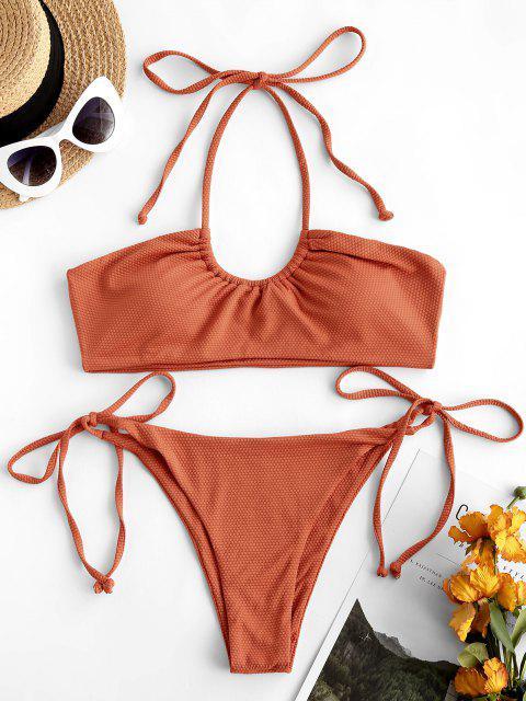 Maillot de Bain Bikini Dos-Nu Échancré avec Attaches - Orange Foncé S Mobile