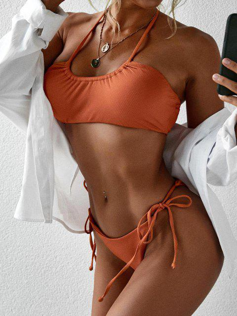 outfits Halter Self Tie High Cut Bikini Swimwear - DARK ORANGE L Mobile