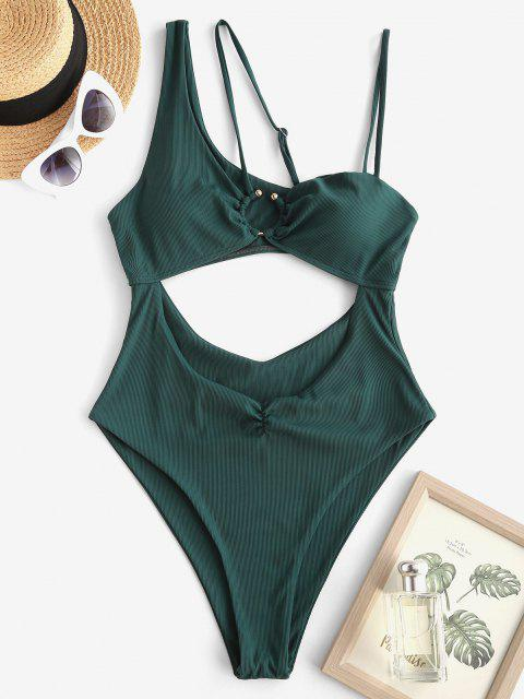 affordable ZAFUL Asymmetric Shoulder Ribbed Cutout One-piece Swimsuit - DEEP GREEN M Mobile