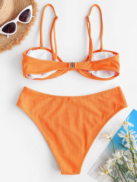 ZAFUL Traje de Baño Acanalado con Nudo y Nudo - Naranja Oscuro L Mobile