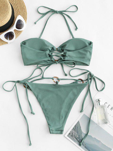 sale ZAFUL Ring Textured Lace-up Tied Bikini Swimwear - LIGHT GREEN L Mobile