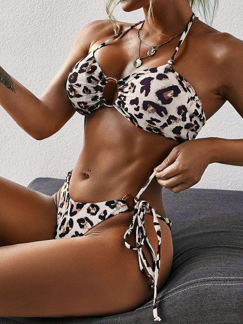 outfit ZAFUL O Ring Leopard Print Self Tie Bikini Swimwear - BLACK S Mobile