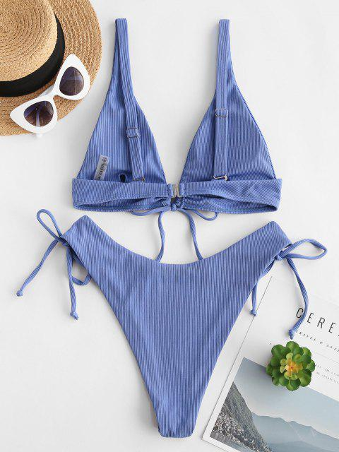 ladies ZAFUL Ribbed Tie High Cut Tank Bikini Swimwear - BLUE M Mobile