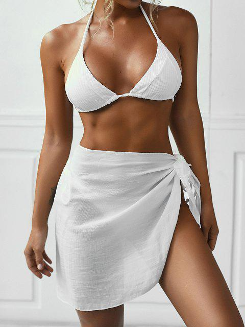 women's Side Tie Sarong - WHITE ONE SIZE Mobile