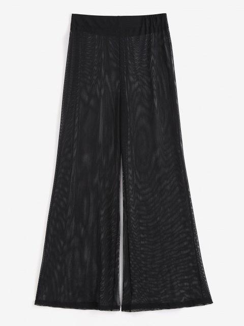 online Sheer Mesh Wide Leg Beach Pants - BLACK ONE SIZE Mobile