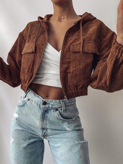 buy ZAFUL Corduroy Drop Shoulder Pocket Hooded Jacket - CHESTNUT L Mobile