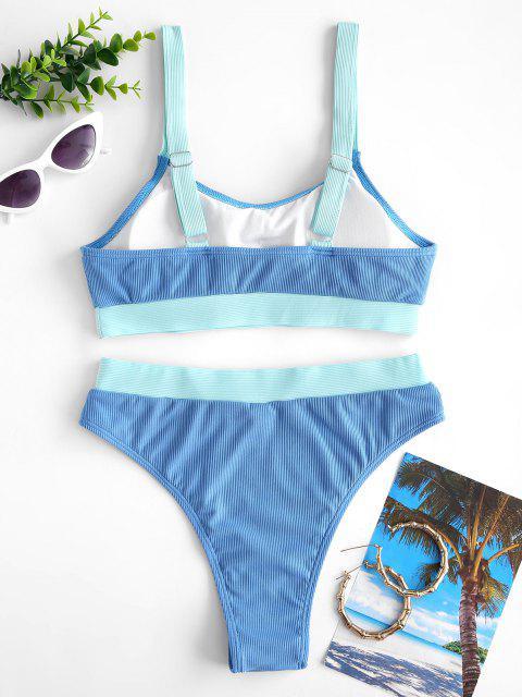 womens ZAFUL Patchwork Ribbed Tank Bikini Swimwear - BLUE M Mobile