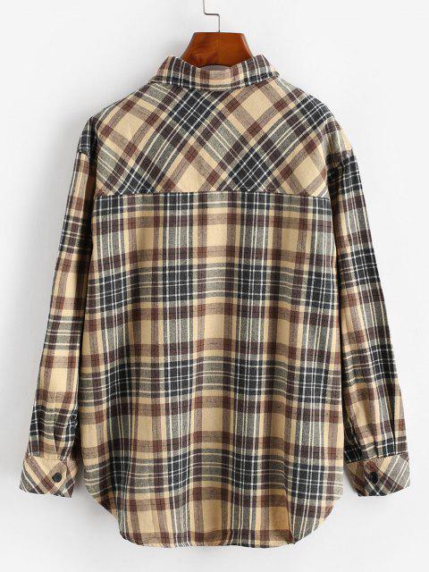 online Plaid Pocket Button Up Shirt - YELLOW L Mobile