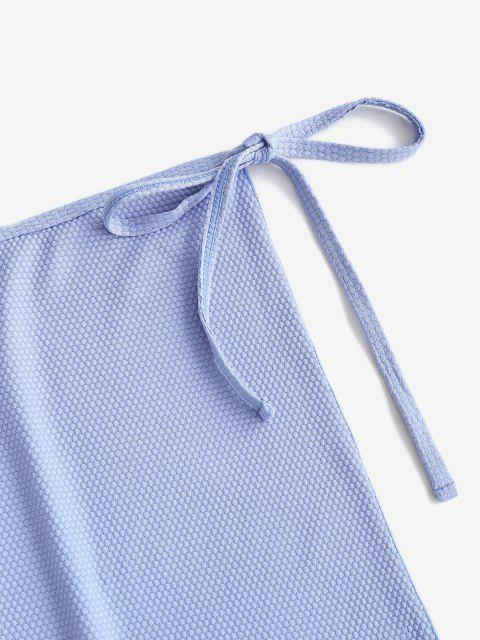 fancy ZAFUL Textured Side Tie Lettuce-trim Skirt - LIGHT BLUE M Mobile