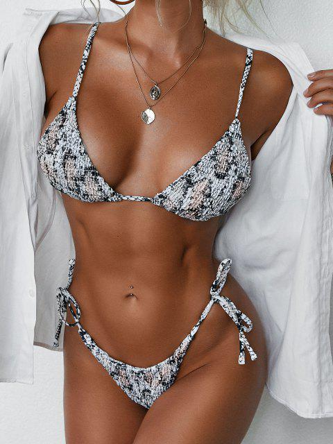 best ZAFUL Animal Print Smocked String Bikini Swimwear - CARBON GRAY S Mobile