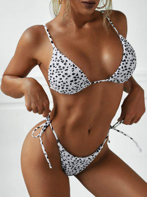 fashion ZAFUL Animal Print Smocked String Bikini Swimwear - WHITE M Mobile