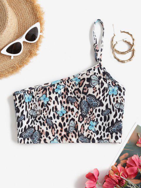 ZAFUL Geripptes Schmetterling Leopard Einziger Schulter Bikini Oberteil - Multi S Mobile