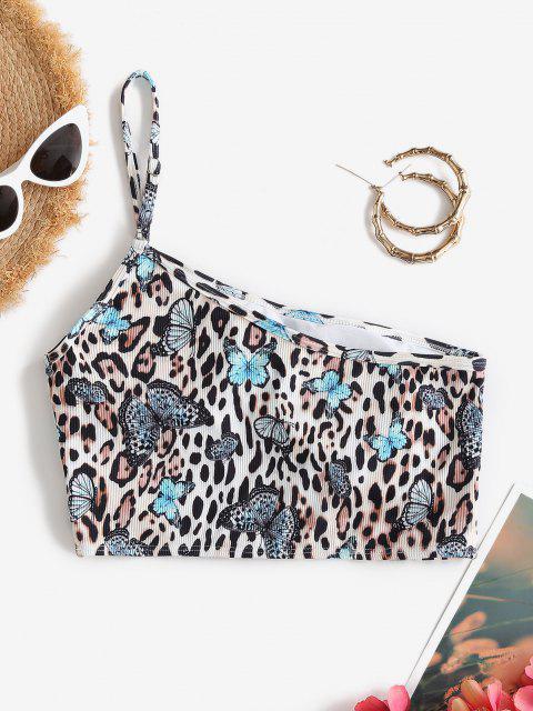 ZAFUL Ribbed Butterfly Leopard One Shoulder Bikini Top - متعدد S Mobile