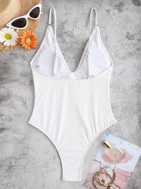 ZAFUL Textured One-piece Swimsuit - أبيض S Mobile