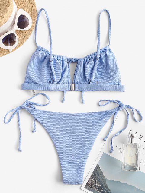 Costume da Bagno Bikini Increspato con Lacci Laterali di ZAFUL - Azzurro M Mobile