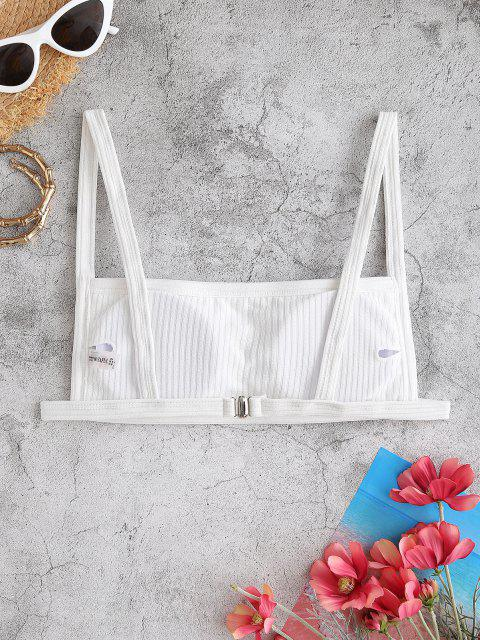 new ZAFUL Textured Ribbed Square Bikini Top - WHITE M Mobile