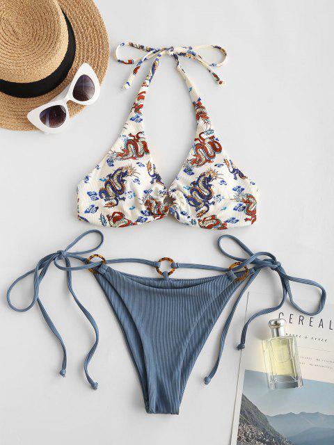 fancy ZAFUL O-ring Ribbed Dragon Oriental Bikini Swimwear - BLUE M Mobile