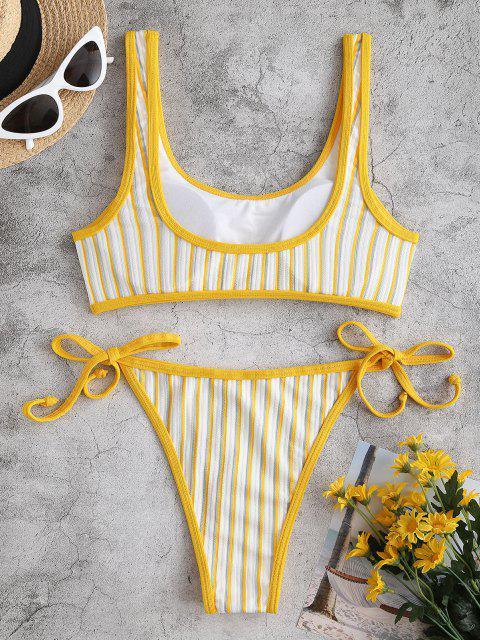 Costume da Bagno Bikini a Costine a Righe Laterali di ZAFUL - Giallo S Mobile