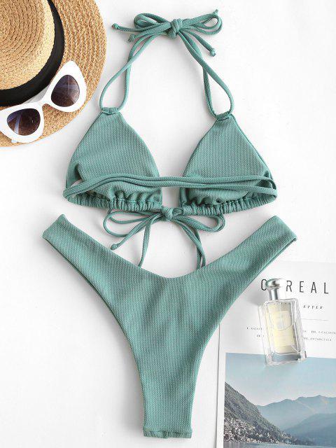 fashion ZAFUL Halter High Cut Tie Front Bikini Swimwear - LIGHT GREEN S Mobile