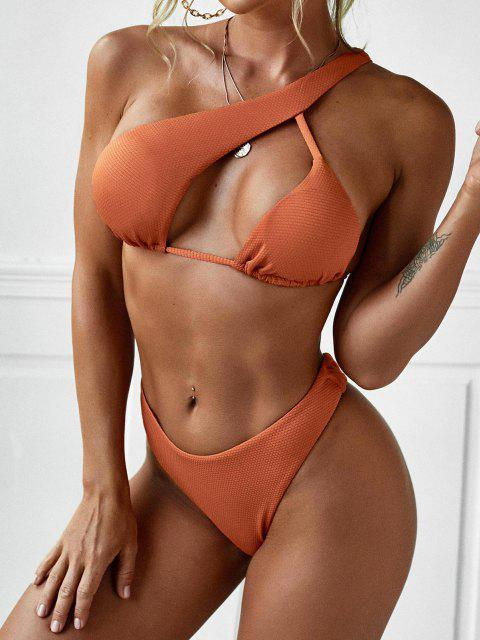 ladies ZAFUL Asymmetric Textured One Shoulder Bikini Swimwear - ORANGE L Mobile