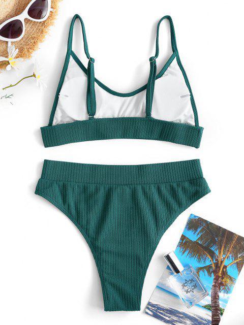 Costume da Bagno Bikini a Costine a Vita Alta di ZAFUL a Taglio Alto - Verde intenso M Mobile