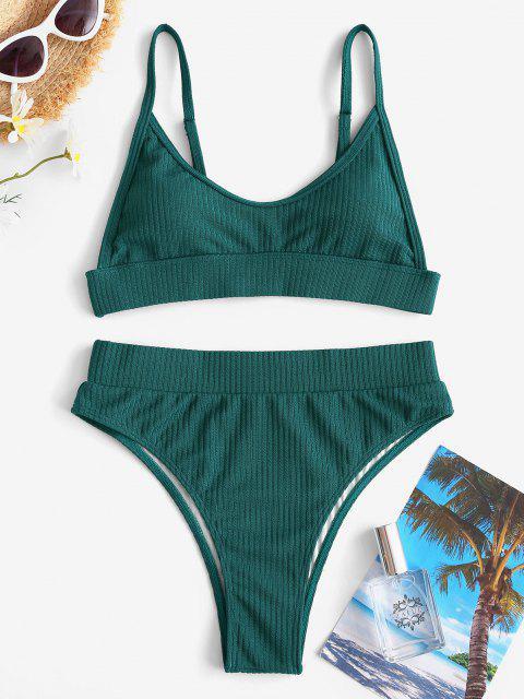 ZAFUL Gerippte Bikini Badebekleidung mit Hoher Taille - Dunkelgrün M Mobile