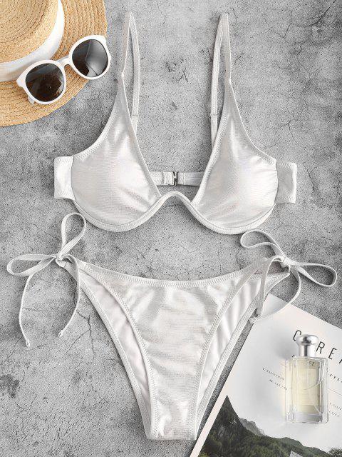 ZAFUL Metallischer Bikini Badeanzug mit W Kabel - Weiß S Mobile
