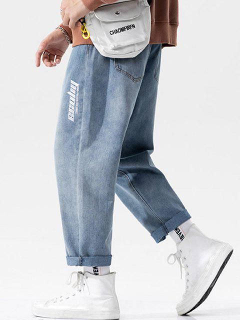 unique Letter Embroidered Straight Jeans - LIGHT BLUE M Mobile
