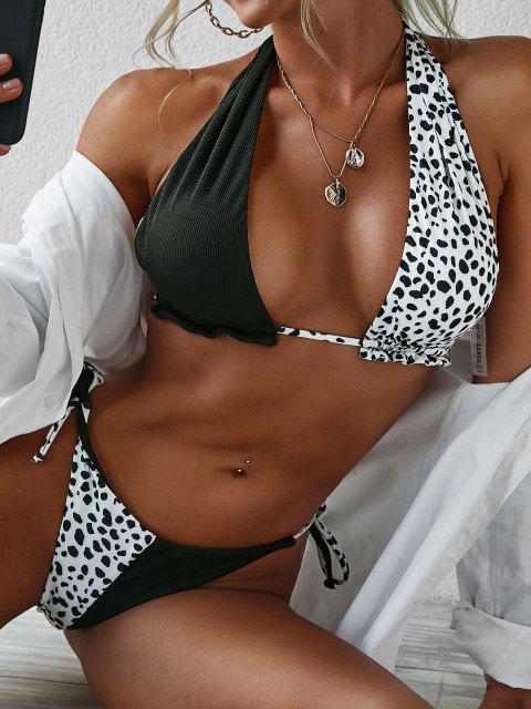 Costume da Bagno Bikini Annodato Stampato a Pois con Scollo Profondo di ZAFUL - Nero S Mobile