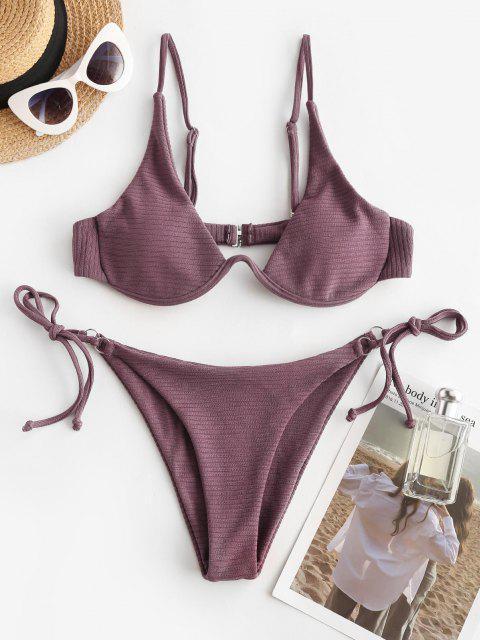 Costume da Bagno Bikini Annodato a Costine con Taglio Laterale di ZAFUL - Viola S Mobile