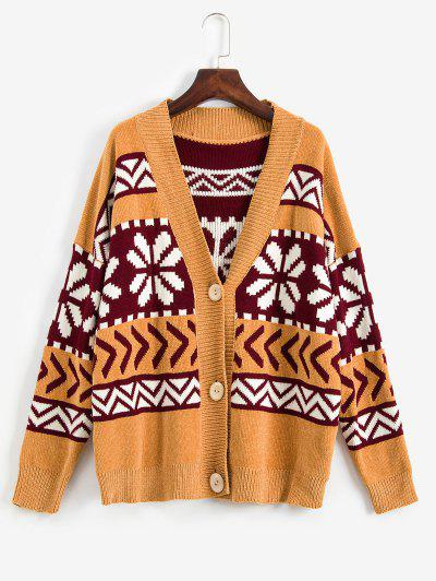 ZAFUL Snowflake Buttoned Chenille Knit Christmas Cardigan - Multi L