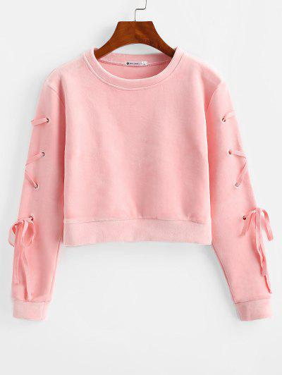 Velvet Lace Up Sweatshirt - Pink S