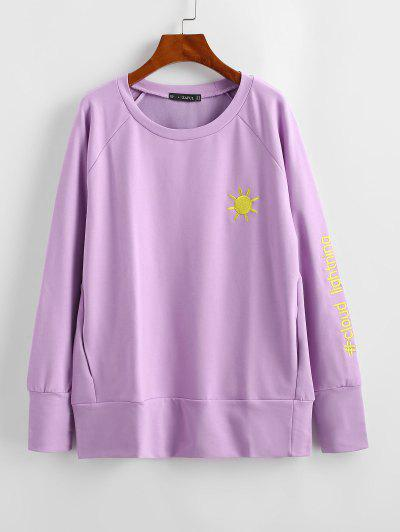 Cloud Lightning Sun Embroidered Sweatshirt - Mauve M
