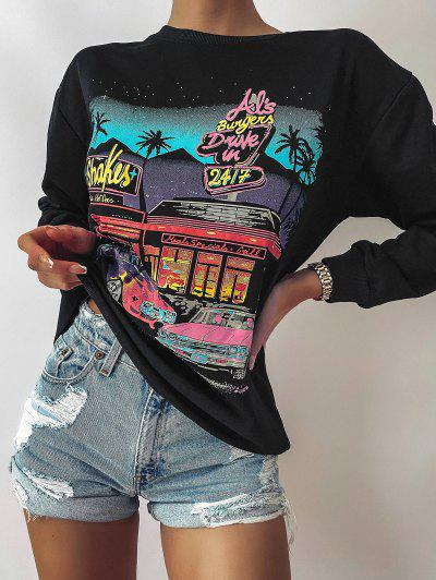 Letter Car Print Drop Shoulder Loose Sweatshirt - Black S