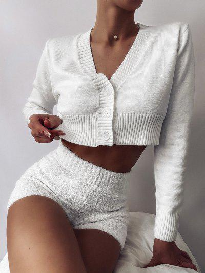 Rib-knit Trim Button Up Crop Cardigan - White