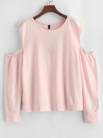 ZAFUL Plus Size Open Shoulder Sweatshirt - Orange Pink 1x