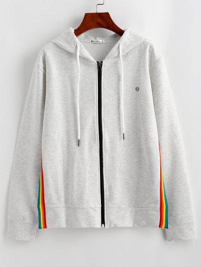 ZAFUL Striped Slit Hooded Jacket - Light Gray M