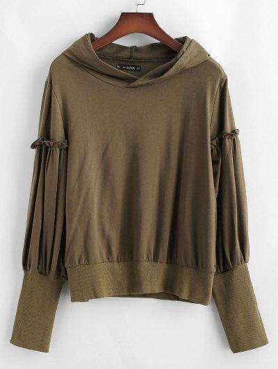 ZAFUL Ribbed Trim Frilled Pullover Hoodie - Dark Khaki M