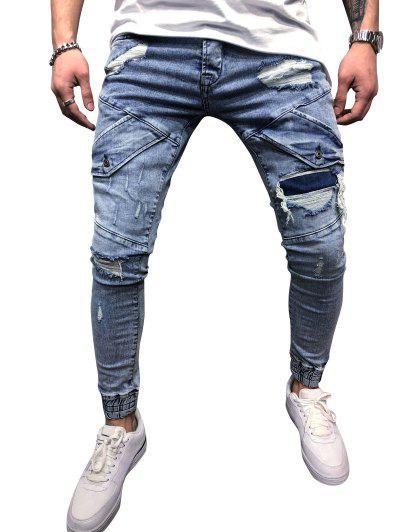 Destroy Wash Scratch Patchwork Beam Feet Jeans - Light Blue 32