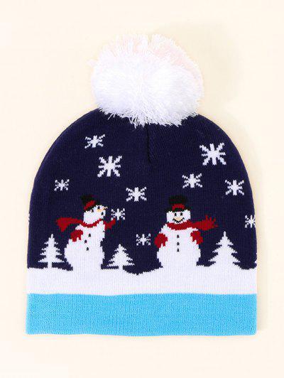 Christmas Snowman Pattern Pom Pom Hat - Cadetblue