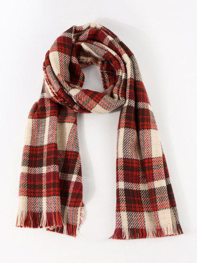 Colorblock Reversible Plaid Long Scarf - Lava Red