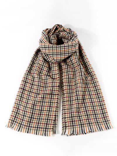 Colorblock Plaid Pattern Shawl Scarf - Multi-a