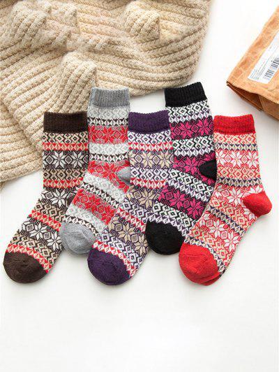 5 Pairs Snowflake Pattern Socks Set - Multi