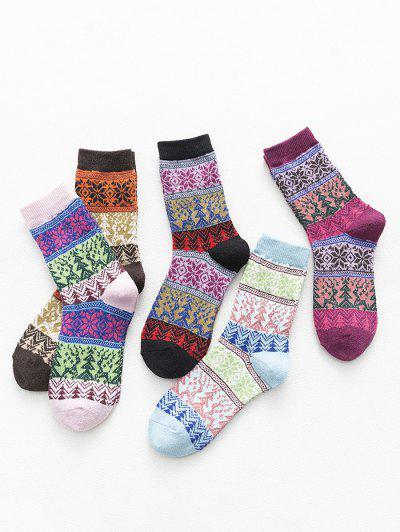 5 Pairs Christmas Tree Pattern Socks Set - Multi