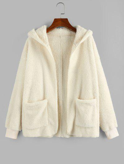 ZAFUL Hooded Faux Fur Open Front Pocket Coat - Beige M