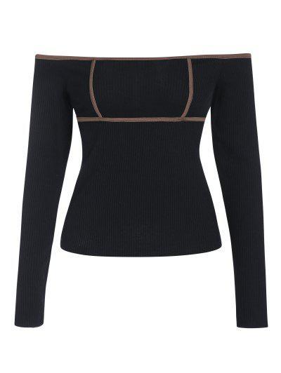 ZAFUL Pețiol Contrast Binding Off Umăr T Shirt - Negru L