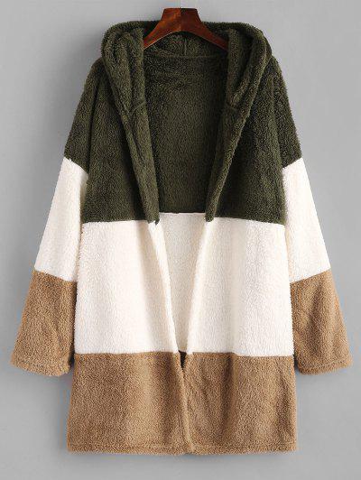 Hooded Color Blocking Fluffy Drop Shoulder Coat - Multi Xl