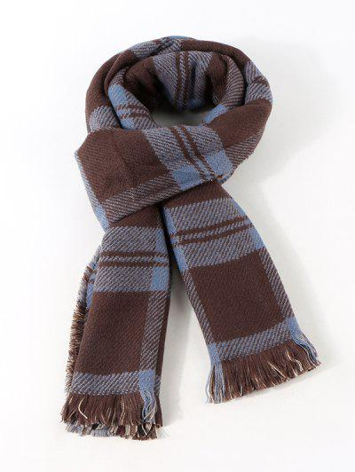 Reversible Plaid Pattern Fringe Scarf - Midnight