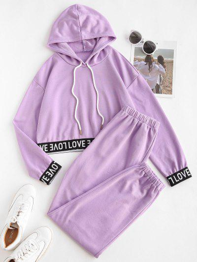 Letter Tape Hooded Sports Joggers Set - Purple L