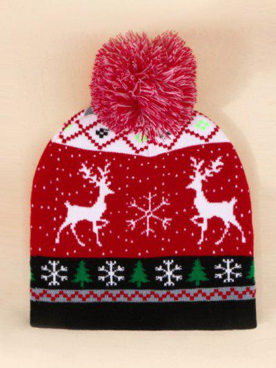 Christmas Elk Pattern Bobble Hat - Lava Red
